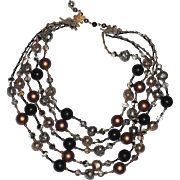 REDUCED Vendome 1960 Burnt Gold 5-Strand Necklace, Magazine Ad Piece