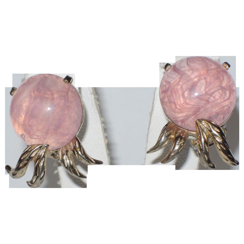 Jomaz Pink Swirl Art Glass Earrings