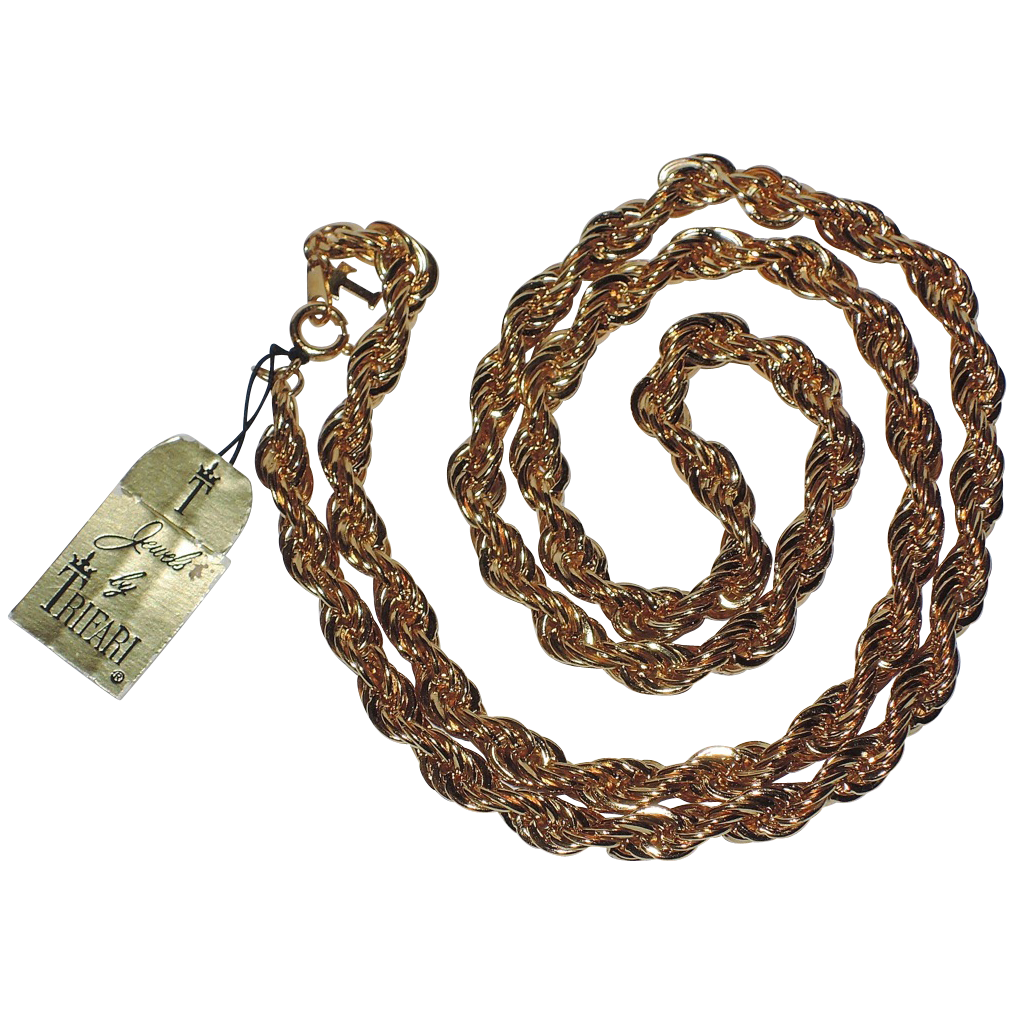 """Trifari 1970's Gold Plated Twisted Rope Necklace 24"""" ~ Mint Condition"""