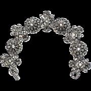 Pennino 1950's Floral Rhinestone Bracelet