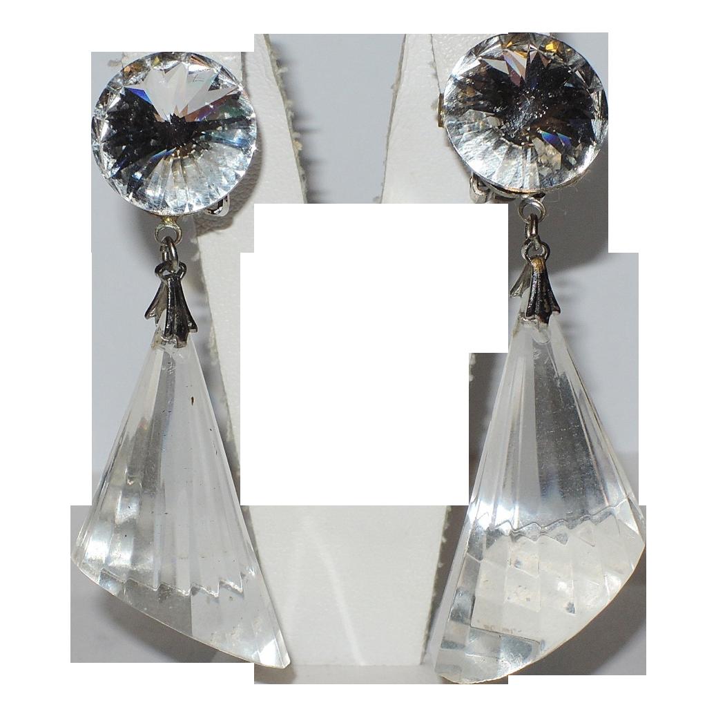 1960's Rivoli Crystal Clear Lucite Cone Drop Earrings