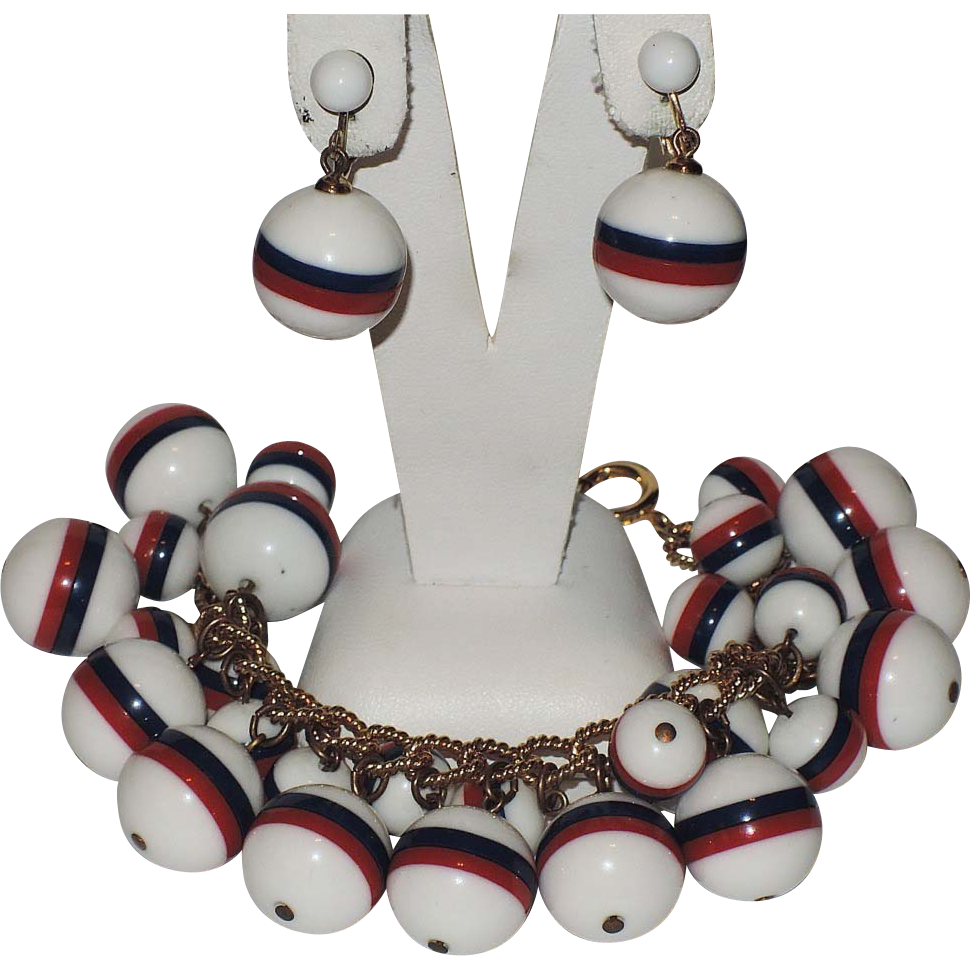 Napier Patriotic Red, White & Blue Charm Bracelet & Earrings ~ Book Piece