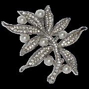 Trifari Sterling 1940's Rhinestone & Faux Pearl Floral Brooch