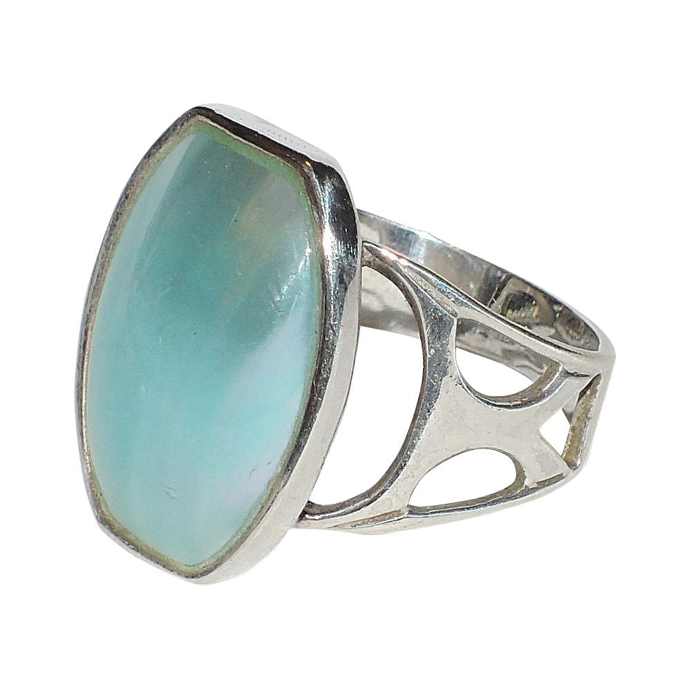 Jay King Blue Mabe Pearl Sterling Silver Ring ~ Size 6.75-7 US