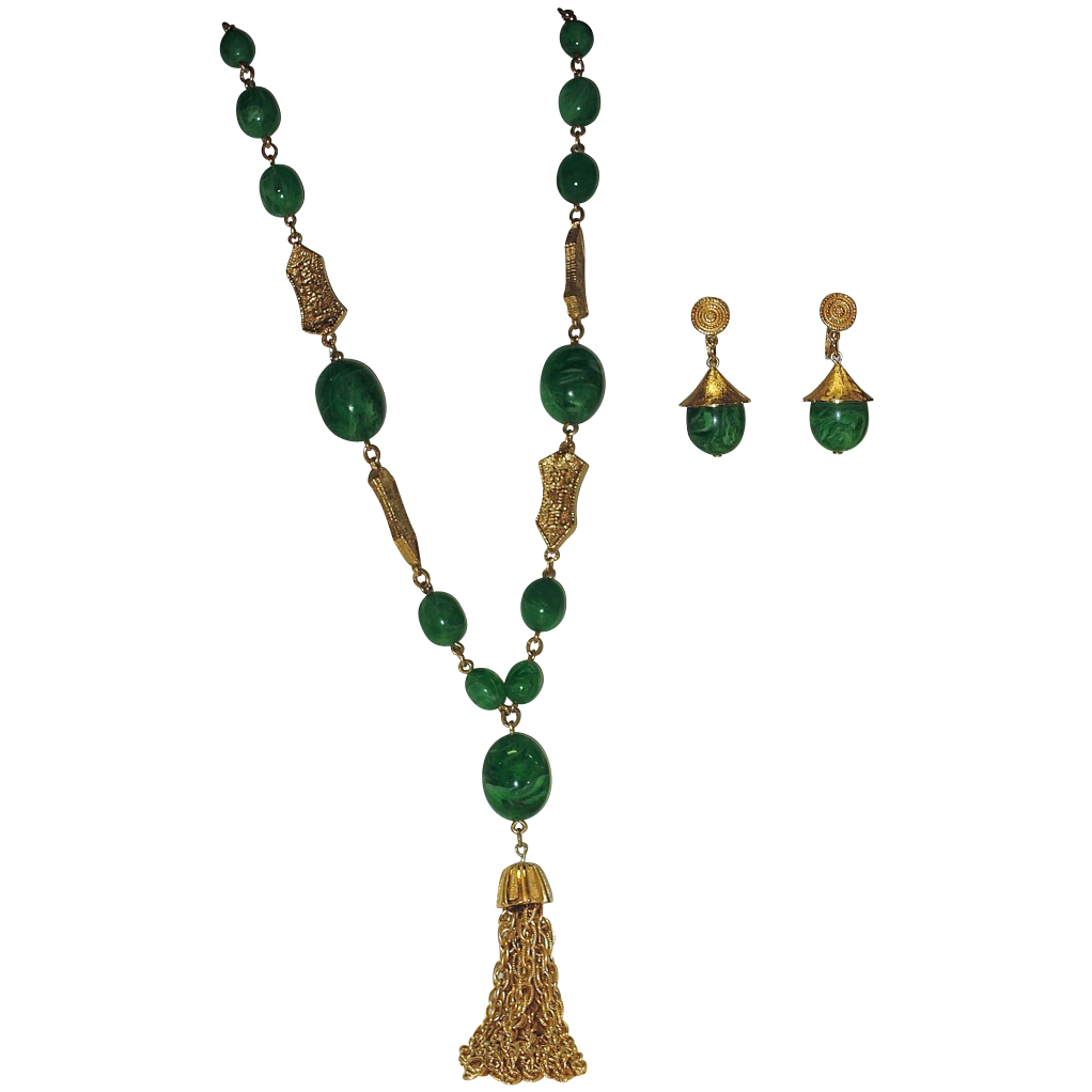 RARE Trifari L'Orient Sautoir Tassel Necklace & Coolie Hat Earring Set