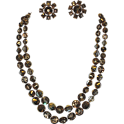 REDUCED Castlecliff Pre-1955 2-Strand Gold-Topaz Swarovski Nailhead Crystal Necklace & Earring