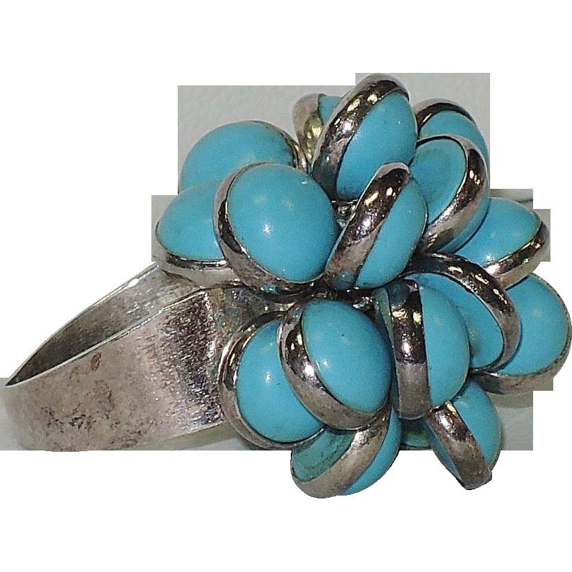 Turquoise Glass & Sterling Silver Fringe Ring, Vintage 1970's ~ 7.75-8.25 US