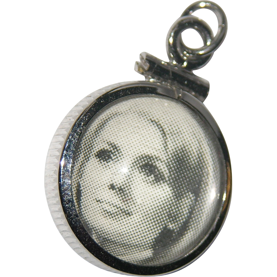 RARE 1960's Photo Bubble Sterling Silver Charm ~ Mint