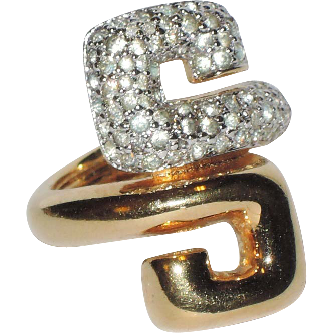 Jomaz S-shaped 1950's Rhinestone & Gold Plate Cocktail Ring ~ Size 5-5.25