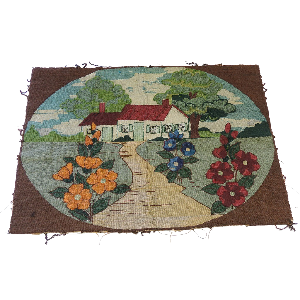 RARE Late 1930's Hooked Wool Rug ~ Home Landscape