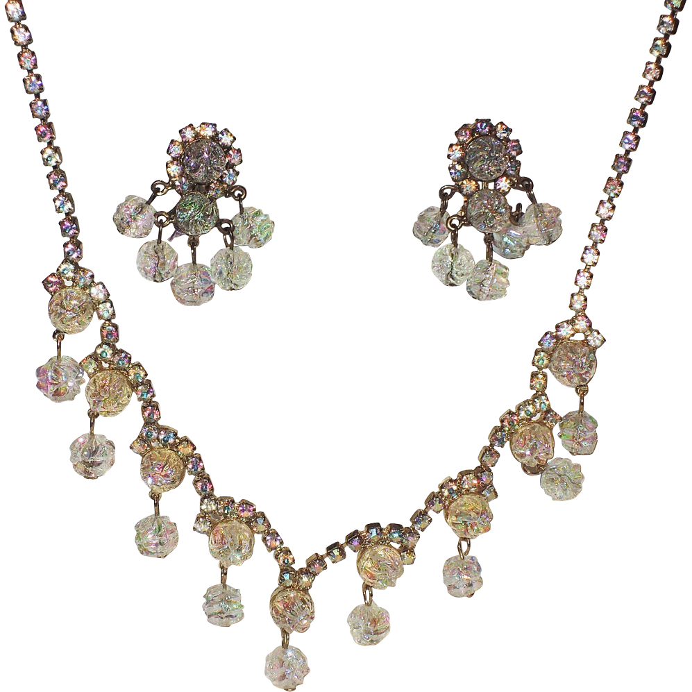 1960's Molded Carnival Glass & Rhinestone Necklace / Earring Set
