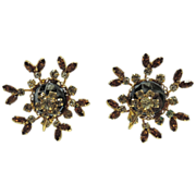 RARE Vendome 1950's Hematite Rhinestone Floral Motif 3D Earrings