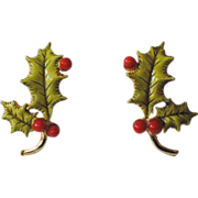 Accessocraft N.Y.C. 1960's Holly Berry 3D Leaves Christmas Earrings