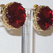 Accessocraft N.Y.C. Large Ruby Red Faceted Glass Earrings