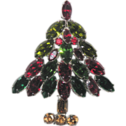 Napier Classic Navette Rhinestone Christmas Tree Pin ~ Book Piece