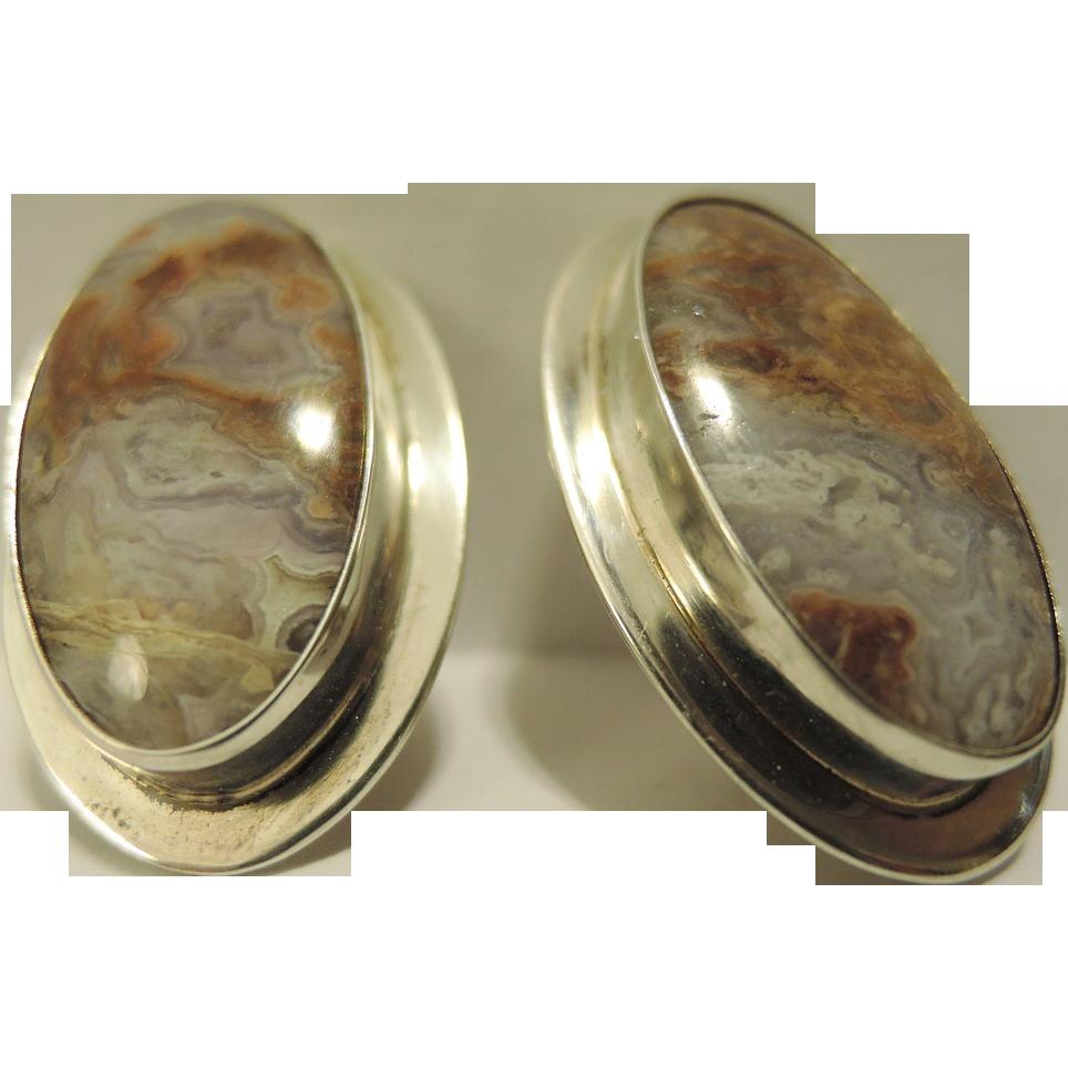 Mid Century Modern Geode Rock Sterling Silver Modernist Oval Pierced Earrings