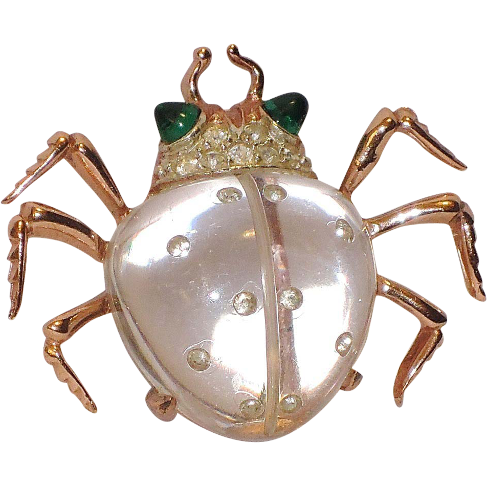 Coro 1944 Twinkling Twin Beetle Jelly Belly Sterling Dress Clip ~ Patented Book Piece