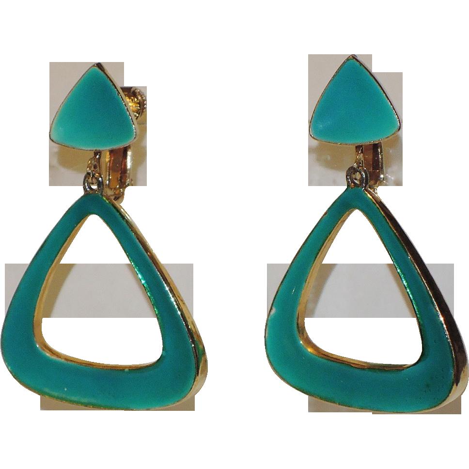 Vendome 1960's Mod Teal Green Enamel Triangle Drop Earrings