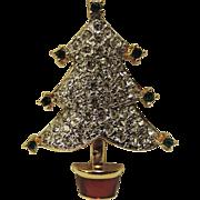Carolee Pave Rhinestone Christmas Tree Pin ~ RARE Book Piece
