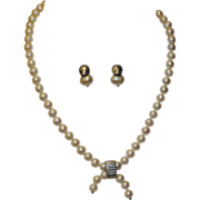 Lisa Jenks NY Cultured Pearl & Sterling Silver Necklace & Earrings
