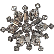 Kramer of New York Rhinestone Snowflake Brooch