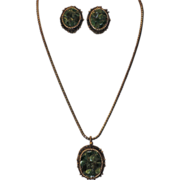 Late 1960's Genuine Jade Pendant Necklace & Earring Set