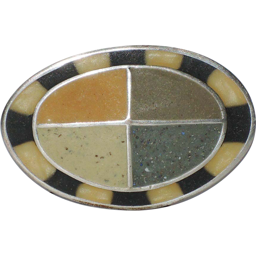 Artisan David Urso Organic Resin Sterling Silver Brooch