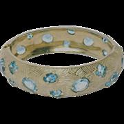 SALE Castlecliff 1950's Aqua Stone Bangle Bracelet
