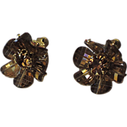 Vendome Mink Pagoda Crystal Earrings ~ Vintage 1970's