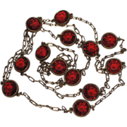 SALE Accessocraft N.Y.C. 1960's Red Glass Sautoir Necklace 52""