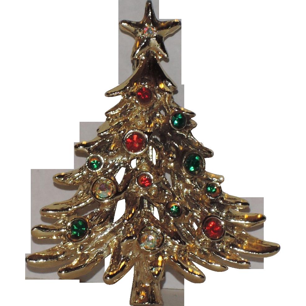 Tancer II Shiny Gold tone Christmas Tree Pin