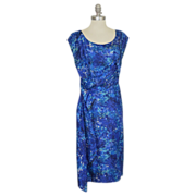 "1950's Silk Blue Floral Drape Cocktail Wiggle Dress ~ 40"" Bust"