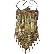 Art Deco Mandalian Lustro Pearl Drop Fringe Mesh Purse ~ Rare Fall Colors; Double Mosaic Frame