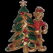1950's Elf with Christmas Tree Pin ~ Rhinestones & Enamel