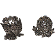 Art Deco French Dress/Shoe Clips ~ Sterling Silver & Marcasite