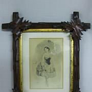 SALE Antique Bignoli Litho in Stick Frame