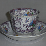REDUCED Antique Florilla Transferware Cup & Saucer