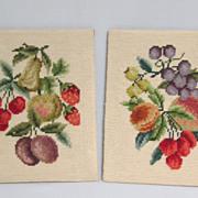 SALE Pair of Vintage Needlepoint Panels