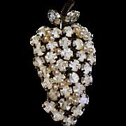 Vintage Austria White Givre Rhinestone Faux Pearl Fruit Brooch