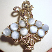 Vintage Unsigned Coro Moon Glow Cabochon Stone Basket Brooch