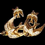 Vintage Coro Sterling Swallow Duette Brooch Fur Clip Earrings Set