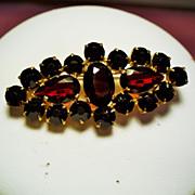 Vintage Czech Faceted Garnet Glass Stone Brooch