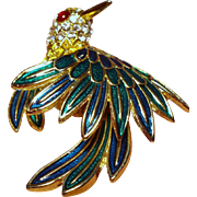 Vintage D'Orlan Enamel Rhinestone Bird Brooch