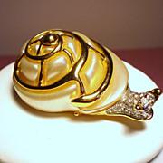 Vintage KJL Kenneth J Lane Rhinestone Snail Brooch
