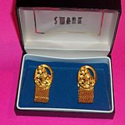 Vintage Cufflinks Wrap Mens Unisex 60's Swank Zodiac Ram Aries Estate Gold tone