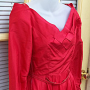 Vintage 50's Fifties Ceil Chapman Red Rockabilly Silk Dress Couture Estate