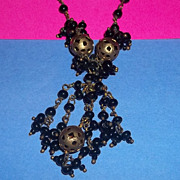 Czech Vintage Tassel Brass Black Glass Art Deco Necklace A wonderful Petite Version Estate Charming  Beautiful