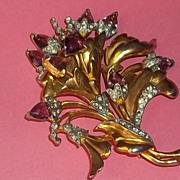 Vintage Art Deco Hollywood Regency 40's Era Pin Brooch Large Gold Purple Flowers