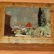 Rare Antique 1800's Italian Leather Pietra Dura Inlaid Box Estate Beautiful