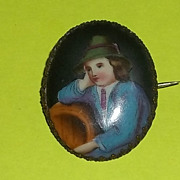 Antique Hand Painted Brooch Pin Portrait German Boy Old C Clasp Estate